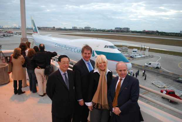 Cathay Pacific and MDAD officials welcome the first arrival at MIA at 06030 on March 6. (MDAD)