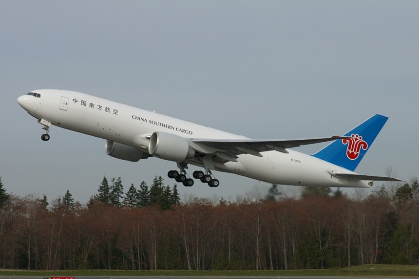 The second of six, Boeing 777-F1B B-2702 (msn 37310) takes off from Everett in the modified color scheme.  Copyright Photo: Joe G. Walker.
