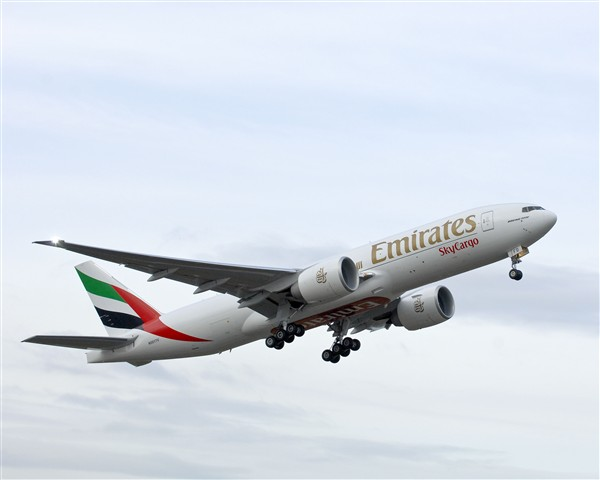 The first Emirates SkyCargo Boeing 777-F1H was delivered as A6-EFD (msn 35606).  Copyright Photo: Boeing.