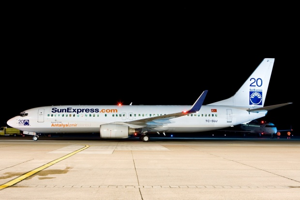 TC-SUJ also now carries SunExpress.com web titles.  Copyright Photo: Gunter Mayer.