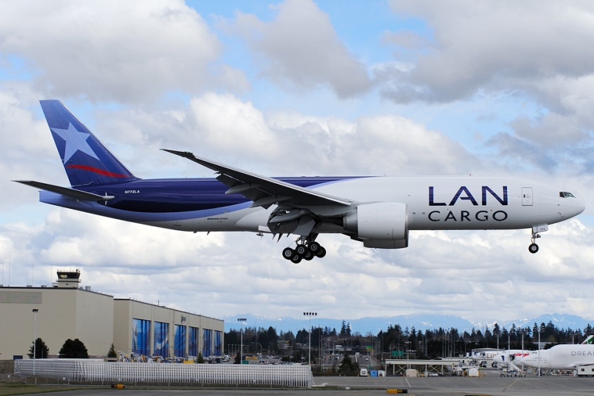 LAN Cargo's (Chile) brand new Boeing 777-F6N freighter (N772LA, msn 37708) lands at Everett after a test flight at Boeing.  Copyright Photo: Royal S. King.