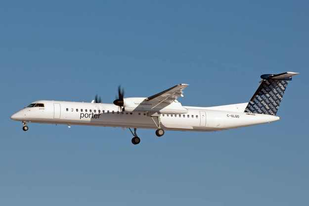 Porter operates a growing fleet of Bombardier DHC-8-402 (Q400) turboprops. C-GLQC (msn 4134) prepares to land at Ottawa.  Copyright Photo: S.A. Kelly.