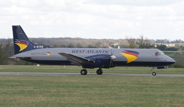 Pictured at Coventry, ATP G-BTPH (msn 2015) is basically painted in United Express' 1993 colors with a new logo and West Atlantic titles.  Copyright Photo: Gordon Stretch.