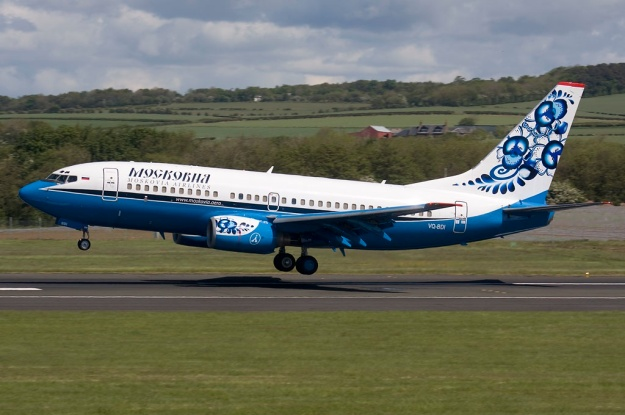 Boeing 737-73A VQ-BDI (msn 28497) touches down at Glasgow (Prestwick) in the dazzling new 2009 livery.  Copyright Photo: Fred Seggie.