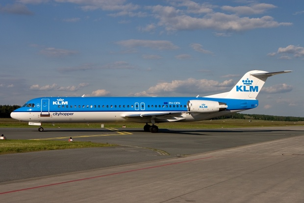 A great shot of KLM Cityhopper's Fokker F.28 Mk. 0100 PH-OFN (msn 11477) taxiing at Nuremberg.  Copyright Photo: Gunter Mayer.