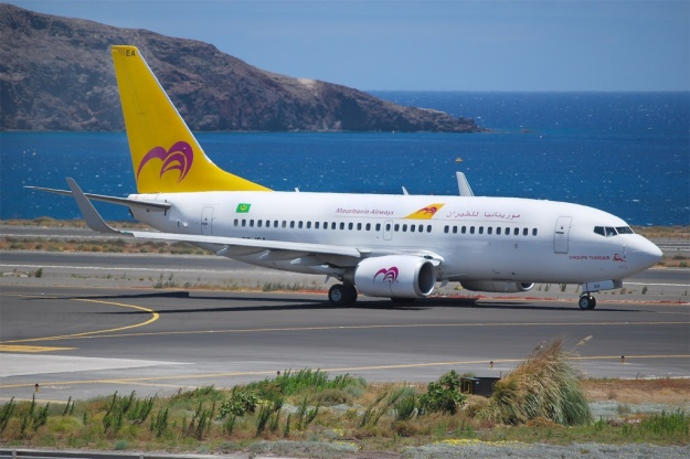 Boeing 737-7L9 TS-IEA (msn 28014) has been painted in full 2007 colors of Mauritania Airways.  TS-IEA taxies at Gran Canaria.  Copyright Photo: Tomas Asensio Lopez.