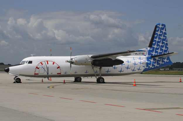 Miniliner (Bergamo) has painted its Fokker F.27 Mk. 500 I-MLXT (msn 10374) in a blue and white version of the 2009 livery.  I-MLXT stops at Liege.  Copyright Photo: Rainer Bexten.