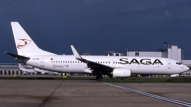 Ex-Airberlin Boeing 737-86J TC-SGH (msn 28068, ex D-ABAN) is pictured at London (Gatwick) with the additional Scottravel decal on the rear fuselage.  The airliner displays the 2004 livery of the Turkish airline.  Copyright Photo: Robbie Shaw.