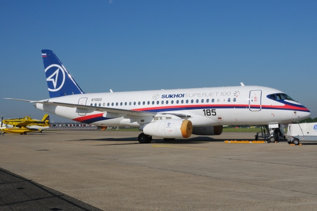 Sukhoi displayed this Superjet 100 at the Paris Air Show.  Copyright Photo: Gerd Beilfuss.