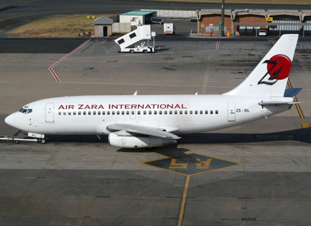 Comair's 737-244 ZS-SIL (msn 22591) taxies at Johannesburg in full Air Zara International's 2008 colors.  Copyright Photo: Sean Mowatt.