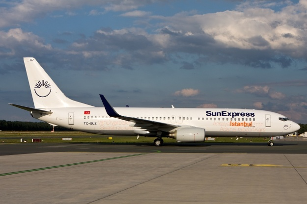 Boeing 737-8CX TC-SUG (msn 32365) of SunExpress with the special Istanbul markings arrives at Nuremberg.  Copyright Photo: Gunter Mayer.