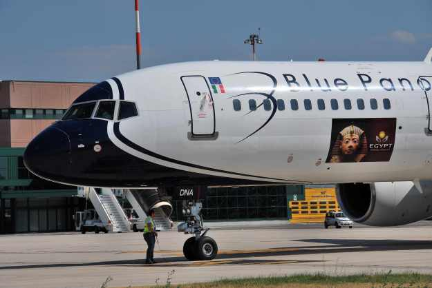 EI-DNA is pictured on the ramp at Bologna with the new sticker.  Copyright Photo: Lucio Alfieri.