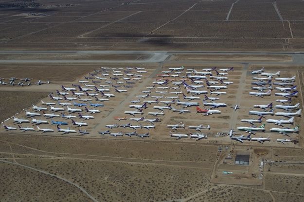 Airliners in desert-air storage are building up at Victorville, CA.  Copyright Photo: Rainer Bexten.