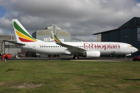 """Ethiopian Airlines' """"new"""" Boeing 737-8AS ET-ANB (msn 29935, ex EI-CSW) is pictured at Lasham before it departed on September 13.  Copyright Photo: Antony J. Best."""