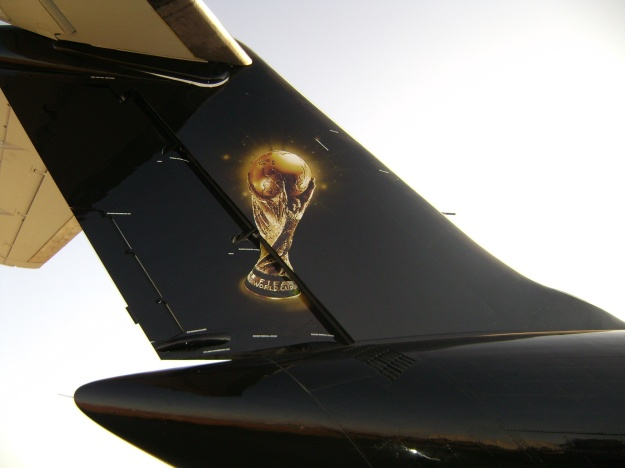 A close-up of the tail.  Copyright Photo: Global Aviation.