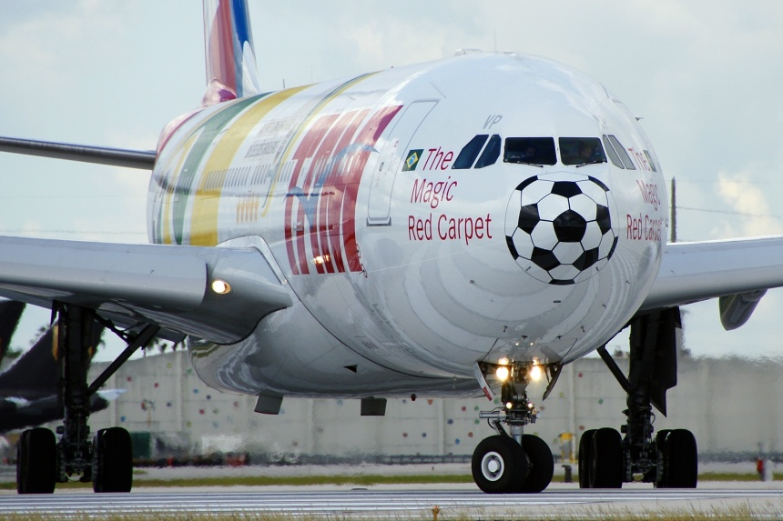 A close-up of the football (soccer) nose like Lufthansa.  Copyright Photo: Wade DeNero.
