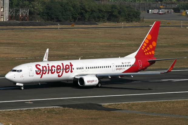 Copyright Photo: David Apps.  Boeing 737-9GJ ER VT-SBT (msn 34952) of SpiceJet is pictured in action at the Mumbai base.