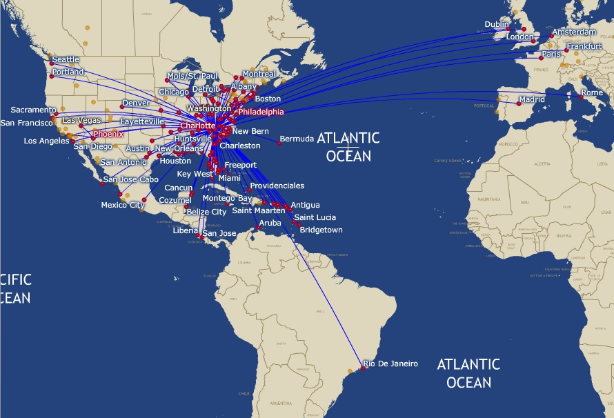 Us Airways To Distribute More Than Million In Profit Sharing Us Airway Map