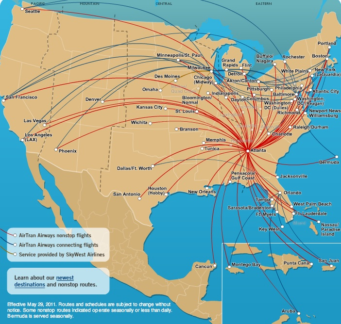 Airport Hubs Map Atlanta Hub Route Map
