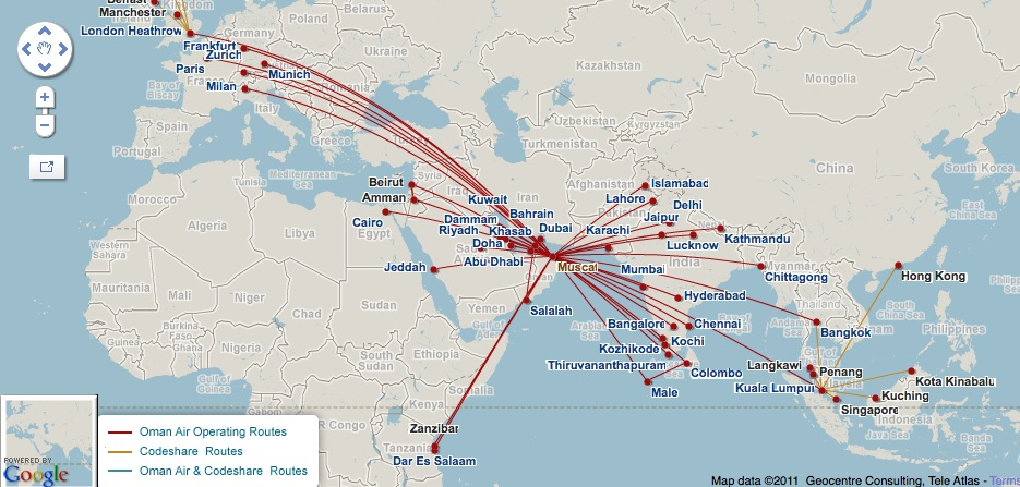 World Airline Route Map http://worldairlinenews.com/tag/oman-air/