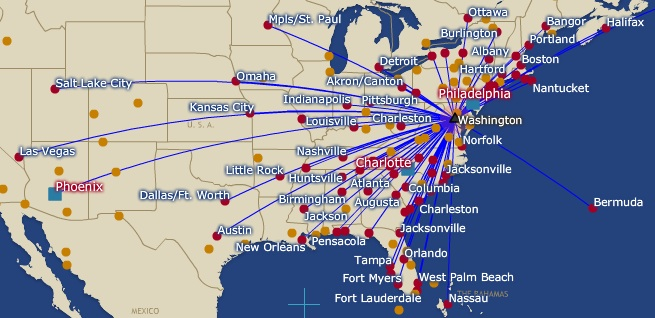US Airways World Airline News Page - Us airways direct flights map