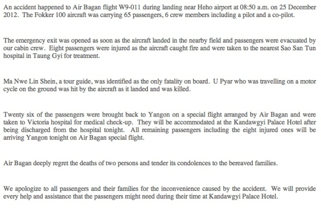 Air Bagan Accident