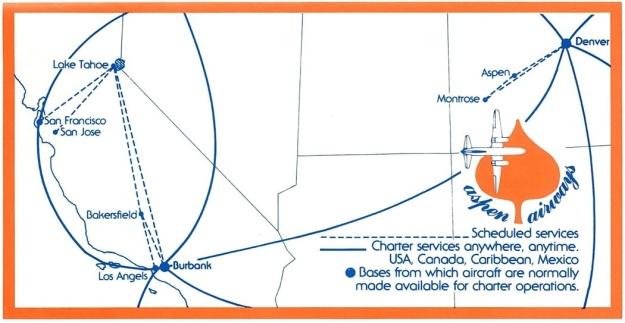 Aspen Airways 1980 Route Map