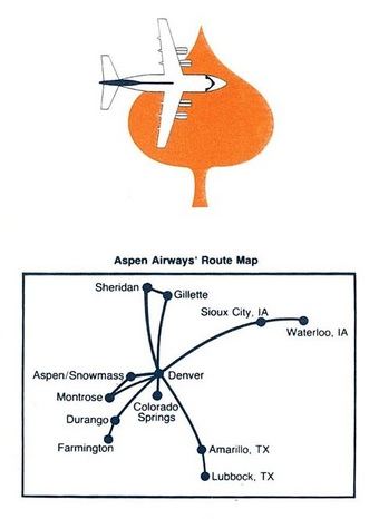 Aspen Airways 7.1985 Route Map