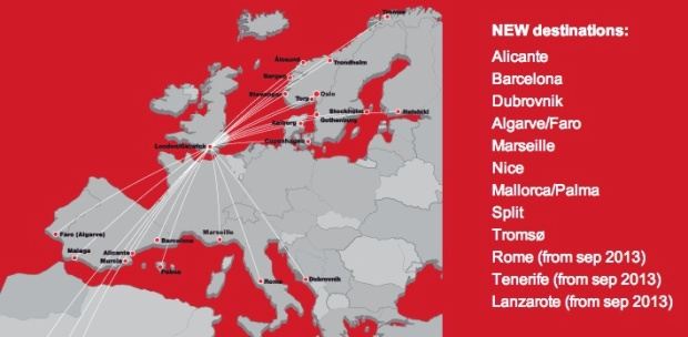 Norwegian LGW Route Map