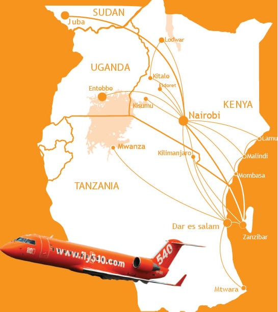 fly540 22013 route map