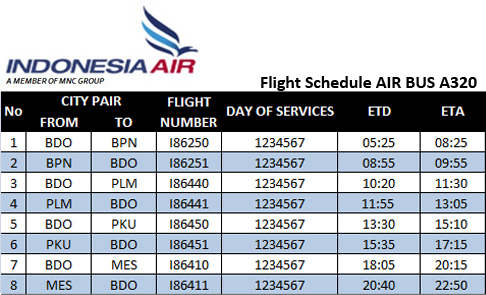 Indonesia Air A320 Schedule