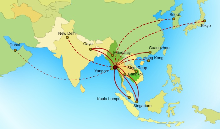 Myanmar airways international to start daily service between please click on the map for the full size view gumiabroncs Choice Image