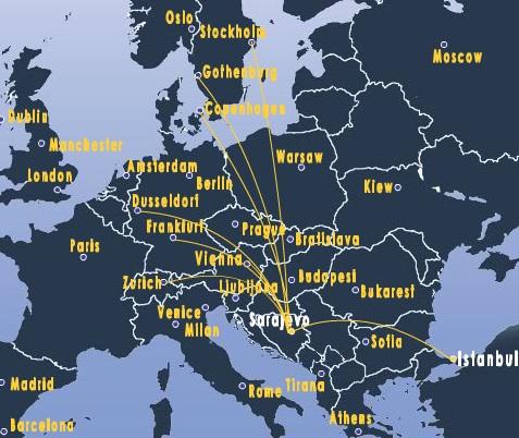 Routes from Sarajevo.