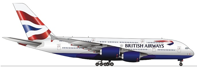 British Airways A380-800 (97-Union flag)(Side Drawing)(British)(LR)