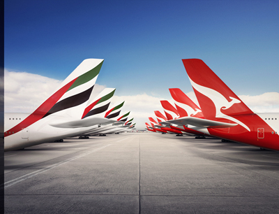 Emirates-QANTAS Tails