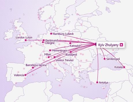 Wizz Air Kiev 3:2013 Route Map