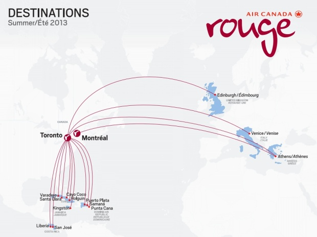 Air Canada rouge 5:2013 Route Map (Air Canada)HR)