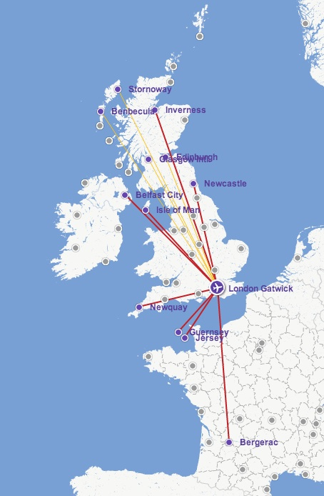 Flybe LGW 5:2013 Route Map