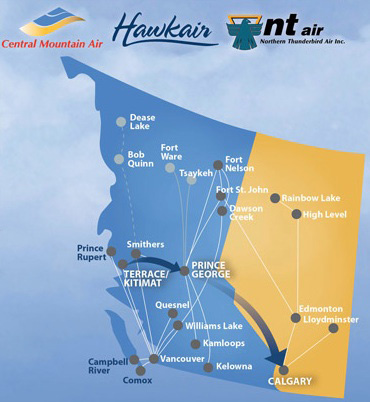 Hawkair 5-2013 Route Map