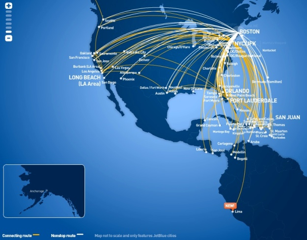 JetBlue BOS 5:2013 Route Map