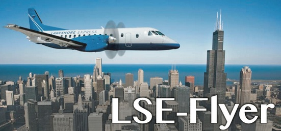 Lakeshore Express SAAB 340B over Chicago