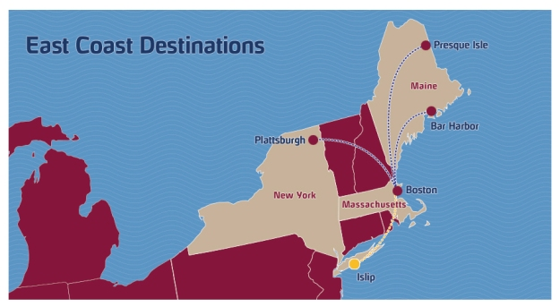 PenAir 5:2013 East Coast Route Map