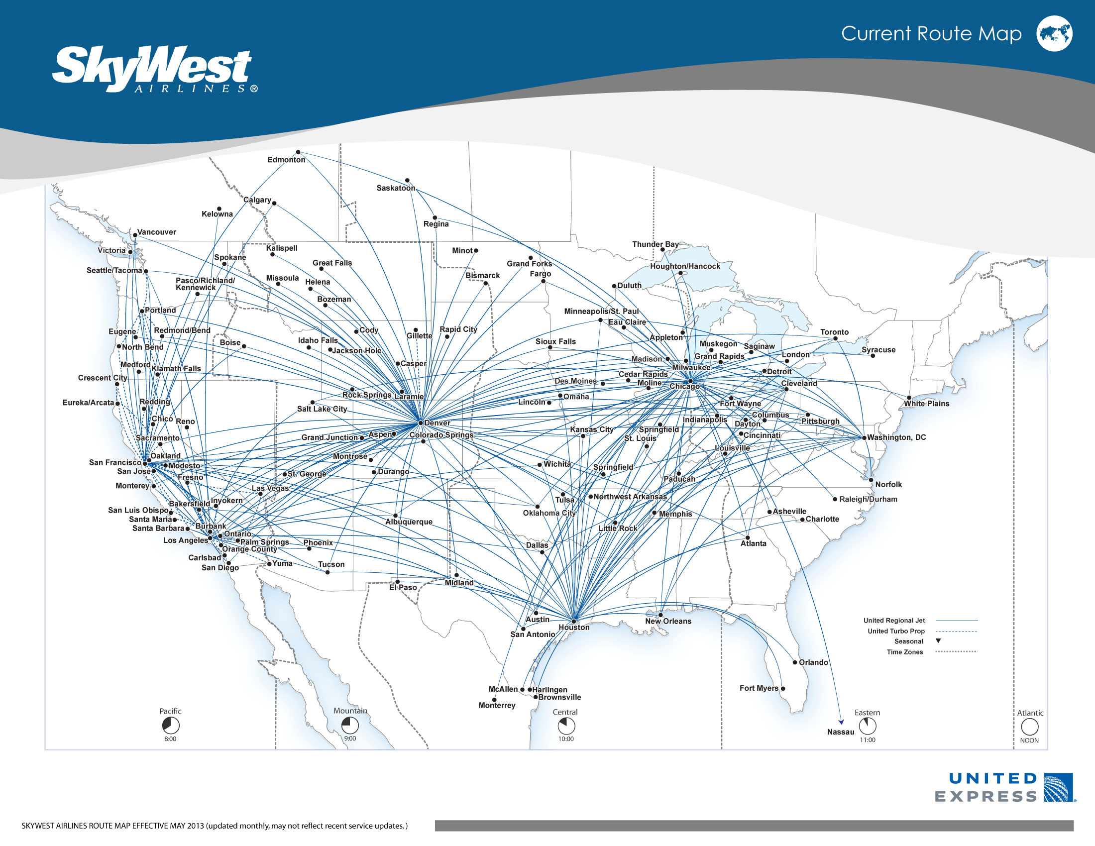 United Express Skywest 5 2013 Route Map