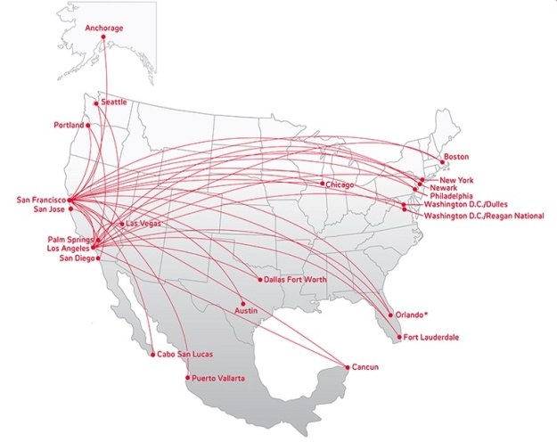 Virgin America 5:2013 Route Map