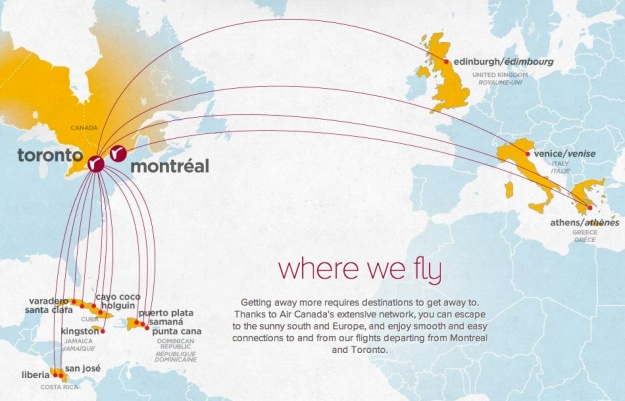 Air Canada rouge 6:2013 Route Map
