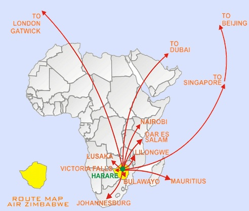 Air Zimbabwe 6:2013 Route Map