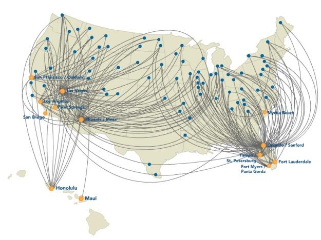 Allegiant 6:2013 Route Map