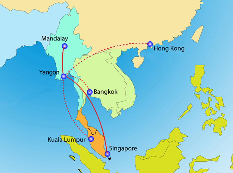 Golden Myanmar 6:2013 Route Map