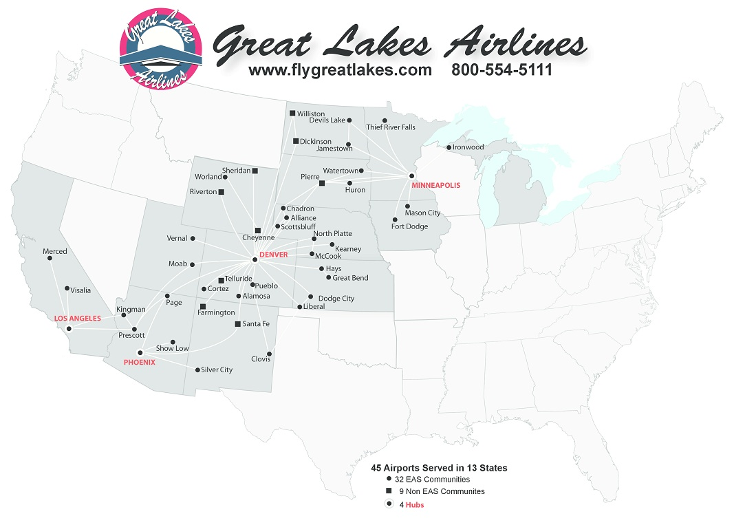 great lakes aviation route map Great Lakes Airlines World Airline News great lakes aviation route map