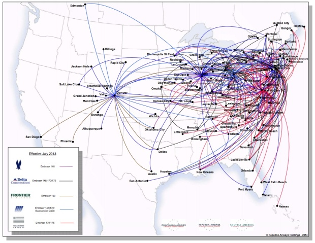 Republic Airways Holdings 7:2013 Route Map